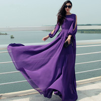 7XL Plus Size Purple Vintage Autumn Long Sleeve Floor Length High Waist Feminine Dresses 2015 Fashion