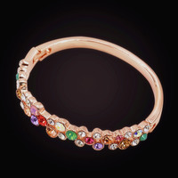 Colorful Indian Bangles For Women Ladies Rose Gold Plated Charm Bracelet Bangle Shining AAA Cubic Zircon