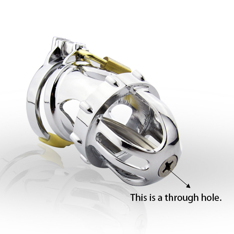 Stainless Steel Male Chastity Device,Chastity Belt,Cock Cage Catheter,Penis Ring,Men's Virginity Lock,Adult Game,Cock Ring G164