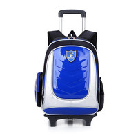 2 Wheels Boys Girls PU Trolley School Bags Rolling Children Mochilas Book Bag Kids Cartoon Wheeled