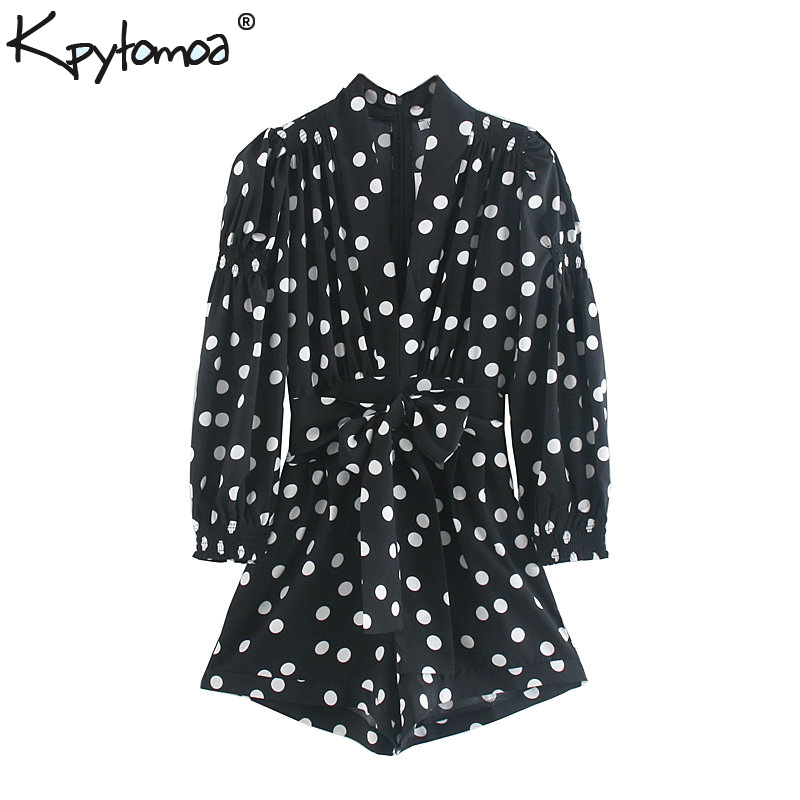 Vintage Chic Polka Dot Bow Tie Sashes   Jumpsuits   Women 2019 Fashion V Neck Long Sleeve Back Zipper Rompers Casual Playsuits Femme