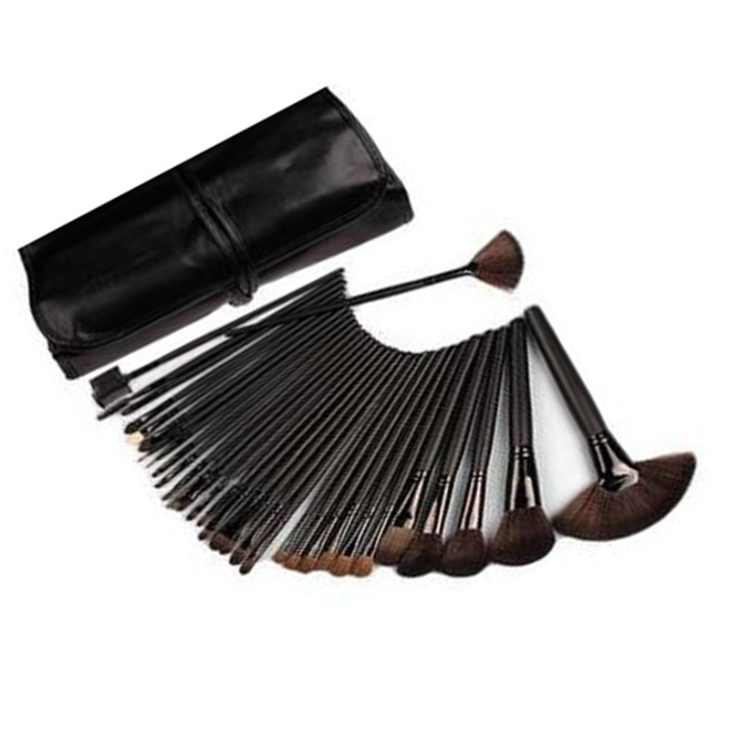 Professional 24pcs Makeup Brushes Set Kit with PU Leather Carry Case Cosmetic Tools professional 13 in 1 piano tuning maintenance tuning tool kit with portable pu leather case easy operate