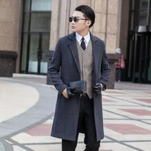Grey winter autumn fashion Without buttons mens woolen coats man long coat men clothes slim fit overcoat men sleeve big size 9XL