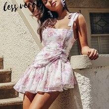 lessverge Bohemian floral pink chiffon bandage dress Women ruffle lace up summer Elegant sleeveless bow pin beach