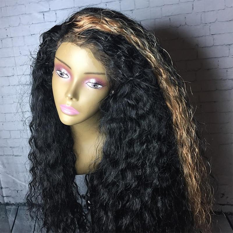 13x6 Lace Front Paryk För Kvinnor Curly Mänskliga Parykker 250% - Mänskligt hår (svart) - Foto 3
