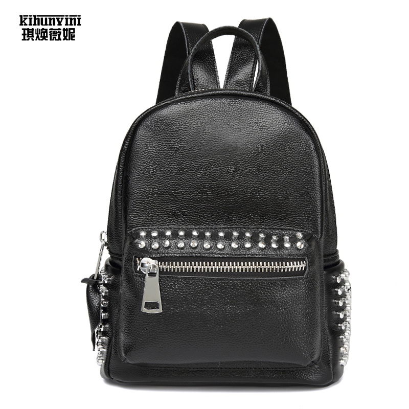 Rivets Cool Leather Backpack Womens Back Pack Hot Fashion Double Shoulder Bags High End Luxury Bagpack Mochilas