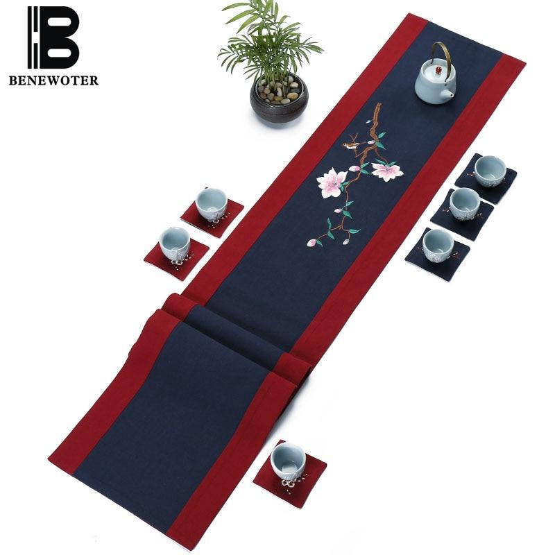 Style chinois travail manuel broderie Magnolia Teaware tapis hôtel bureau décoration lin coton chemin de Table vaisselle coussins