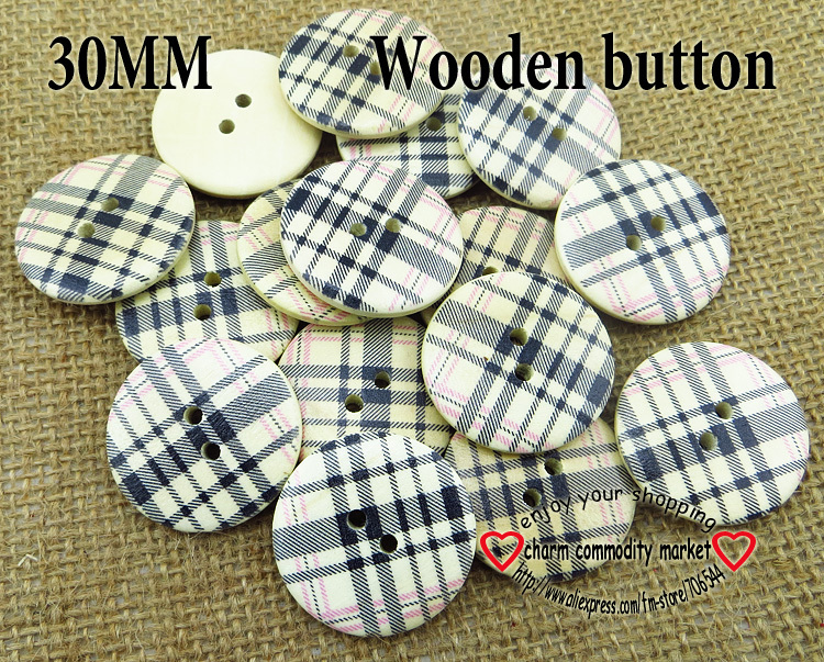 20PCS <font><b>30MM</b></font> Grid painting wooden <font><b>buttons</b></font> sewing clothes boots coat accessories MCB-682 image