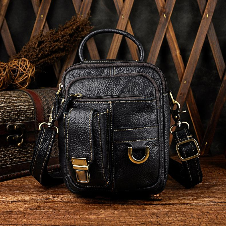 Classical Vintage Style Men Genuine Leather Small Shoulder Bag Crossbody Bags Outerdoor Mobile Camera Pack Fashion Messenger Bag leaderpal brand vintage men messenger bags causal canvas shoulder bag men fashion classical business crossbody bag small bolsos