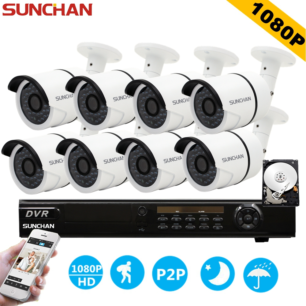 цены SUNCHAN HD 2MP Video Surveillance CCTV System 8CH Full HD 1080P HD AHD DVR Kit 8*1080P SONY Outdoor Security Camera System w/HDD