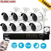 SUNCHAN HD 2MP CCTV 8CH Sistema de Vigilancia de Vídeo Full HD 1080 P HD AHD Kit DVR 8*1080 P Sistema de Cámaras de Seguridad Al Aire Libre 1 TB