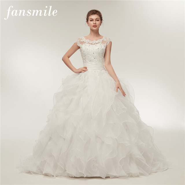 Aliexpress.com : Buy Fansmile Simple Vintage Lace Ball Gowns Wedding ...