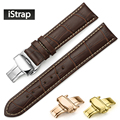 12mm-24mm  Embossed Alligator Grain Genuine Leather Watch Band Strap Hours Bracelet  Rose Gold Butterly Clasp for IWC Oris Omega