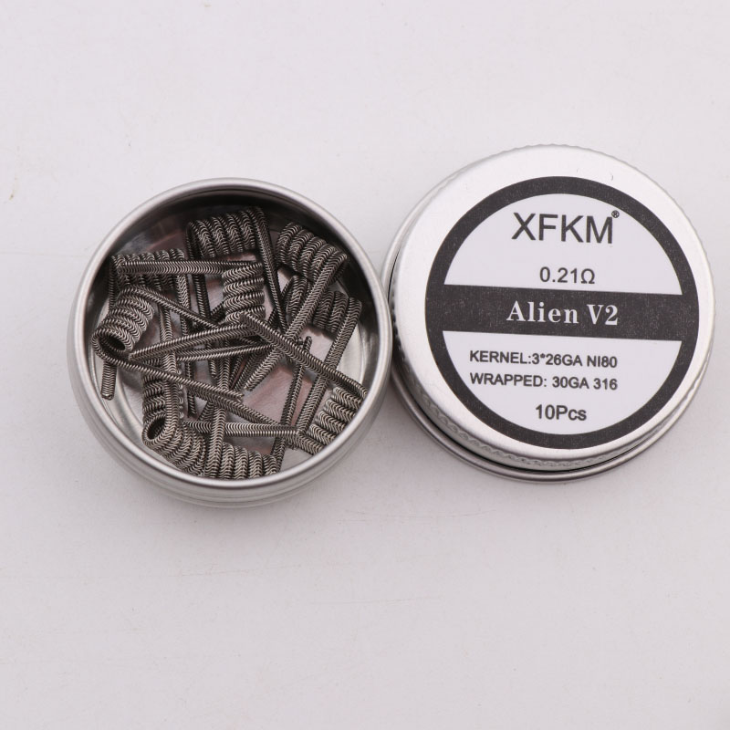 XFKM NI80  A1 SS316L Nichrome High Density Alien V2 Fused Clapton Prebuilt Heating Coil Electronic Cigarette RDA RTA RDTA Coil