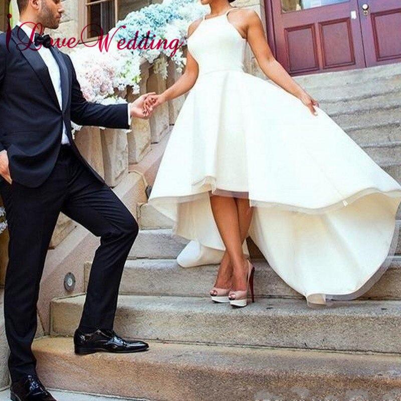 Elegant 2019 Hater Satin Bridal Wedding Gown Robe de mariee Front Short Long Back Cheap Wedding