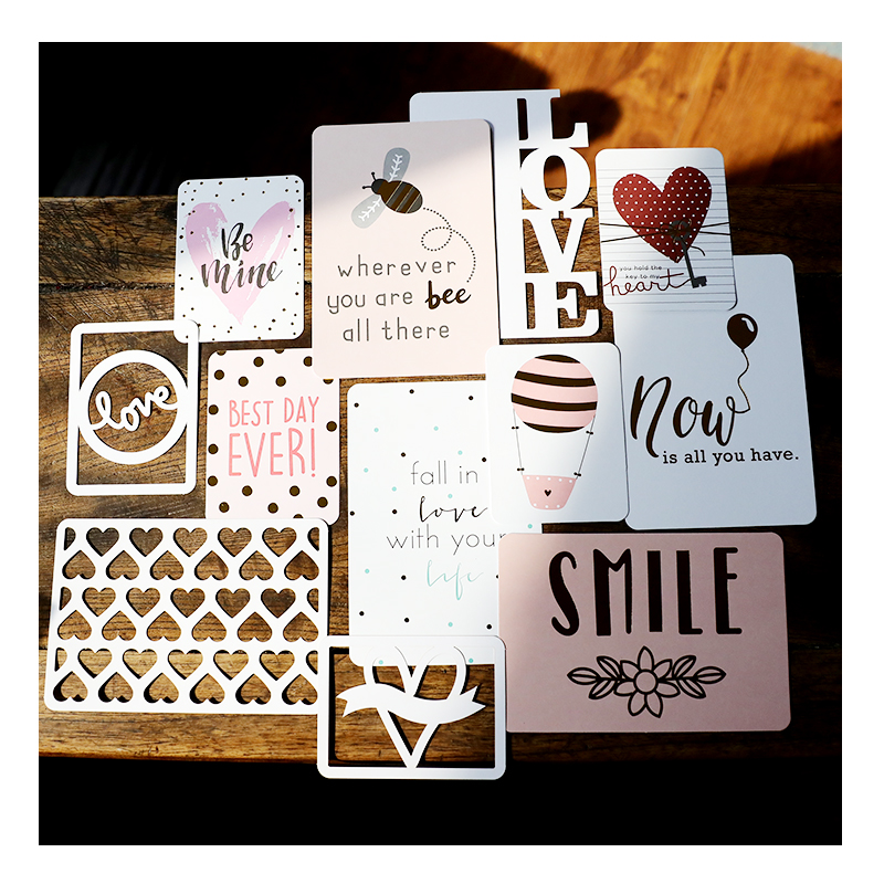Fall In Love Journaling Gold Foil Hollow Out Pocket Cards For Scrapbooking DIY Projects/Photo Album/Card Making Paper Crafts
