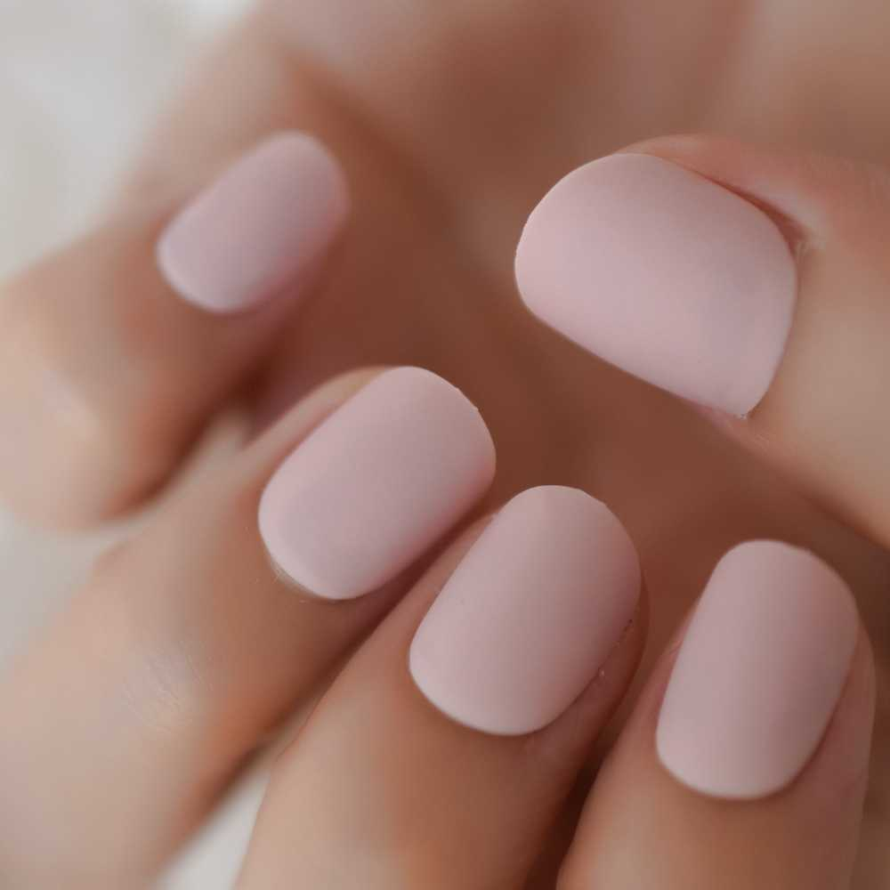 Short Round Light Pink Artificial Nail Art Tips Matte Lovely Girl Fake  Nails Candy Pure Color Decoration Nail Art 24Pcs