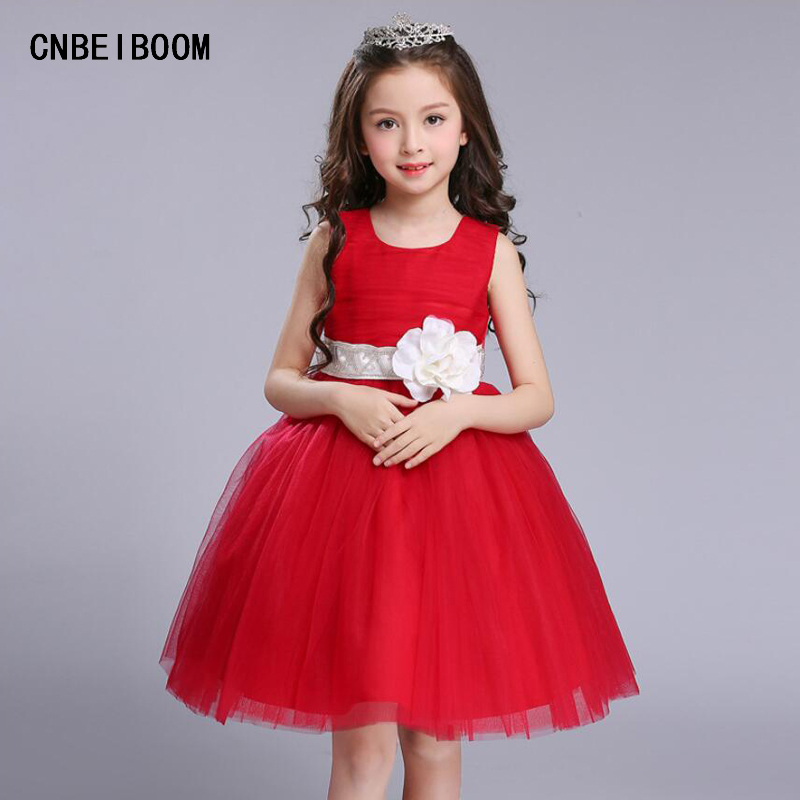 Wedding White Red Girls Dress Party Flower Sequins Tutu Lace Dresses Kids Christmas Princess Clothes Child Tulle Clothes 5-16 Y intelligent automaticly lcd digital display lux meter free shipping