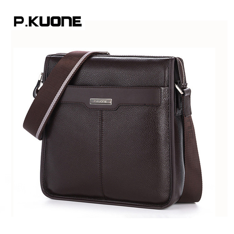 P.KUONE Fashion Shoulder Bag Famous Brand Men's Crossbody Bag Genuine Leather Handbag Business Travel Bag For Men Messenger Bag genuine leather men travel bab shoulder bag gentleman business bag real leather men crossbody bag brand fashion handbag