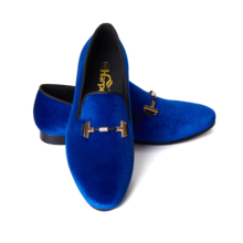 Harpelunde Men Velvet Loafers Blue Wedding Dress Shoes US Size 6-14
