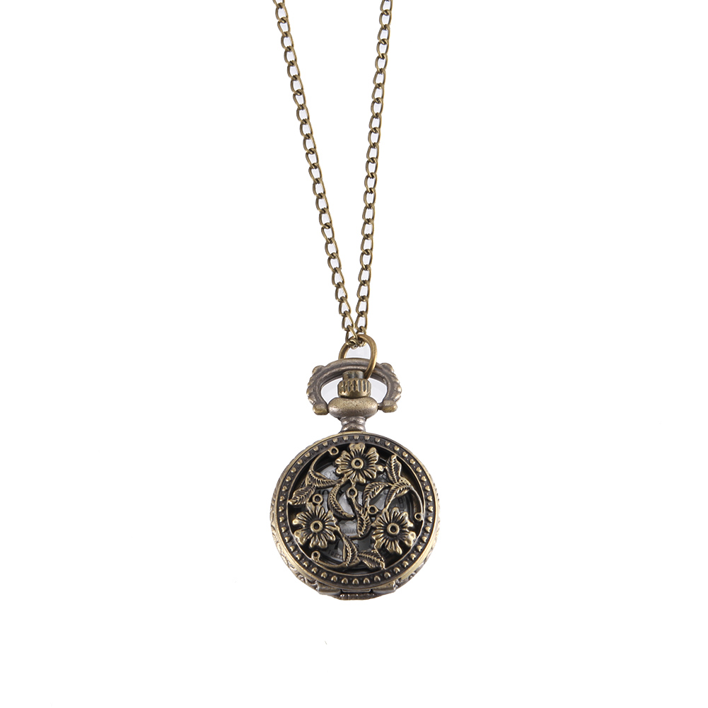 Vintage Pocket Watch Bronze Color Quartz Watch Cool Chain Hollow Small Flower Leaves Watches LXH