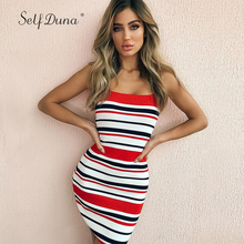Self Duna 2018 Women Slip Mini Dress Striped Knitted Sweater Dress Off Shoulder Vintage Elegant Sexy Lady Short Bodycon Dress
