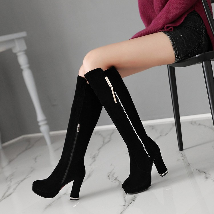 ФОТО Professional customize side zipper thick heel high-heeled shoes plus size shoes female boots coarse thigh boots size boots