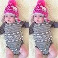 2106 Children Infant Bodysuit Baby Boys Girls Cartoon Cotoon Bears Christmas Clothes Bodysuit Long Sleeve Gray Jumpsuit Outfits