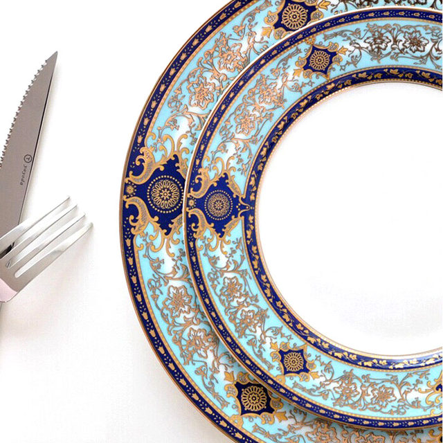 English Court Style Bone China Western Style Dinner Plates Steak Plates Food Tray Restaurant Tableware Blue Christmas Gift 1pcs  sc 1 st  Aliexpress & Online Shop English Court Style Bone China Western Style Dinner ...