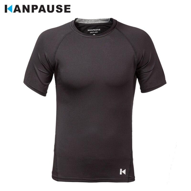 New Arrival KANPAUSE Men's Fitness Tight Short Sleeve Training T-shirt Running Sportswear