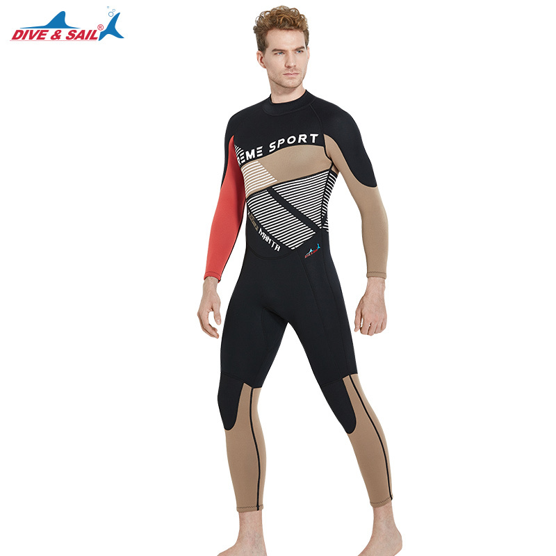 DIVE&SAIL 3mm Neoprene Scuba Diving Suit Men Full Body Snorkeling Surfing Wetsuit Spearfishing Suit Winter Warm Swimwear spearfishing wetsuit 3mm neoprene scuba diving suit snorkeling suit triathlon waterproof keep warm anti uv fishing surf wetsuits