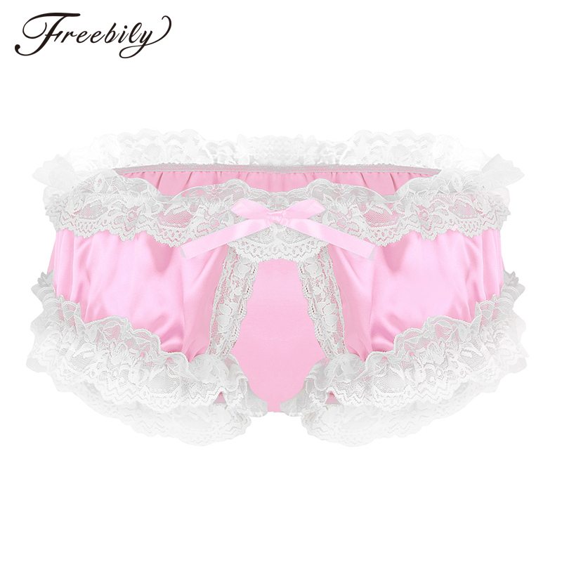 Fashion Mens Lingerie Shiny Soft Satin Fabric Ruffled Lace Panties Super Frilly Ruffled Crotchless Sissy Bikini Briefs Underwear