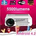 Envío gratis! 5500 lumens brillantes Full HD 1080 P Android 4.2 Wifi inteligente LED 3D proyector perfecto de circulación diurna efecto