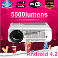 Free shipping! Brightest 5500lumens Full HD 1080P  Android 4.2  Wifi smart LED 3D projector perfect daytime effect