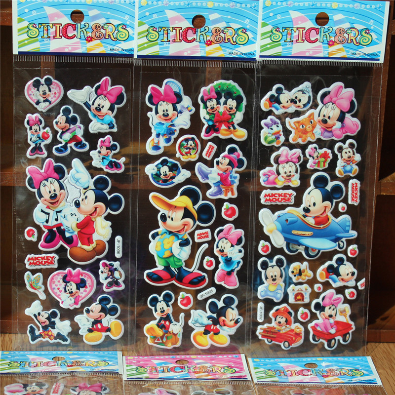 10 sheets/lot Mickey Minne Mouse Bubble stickers Teacher Lovely Reward Sticker Birthday Party Supplies Decoration Party Favors ...