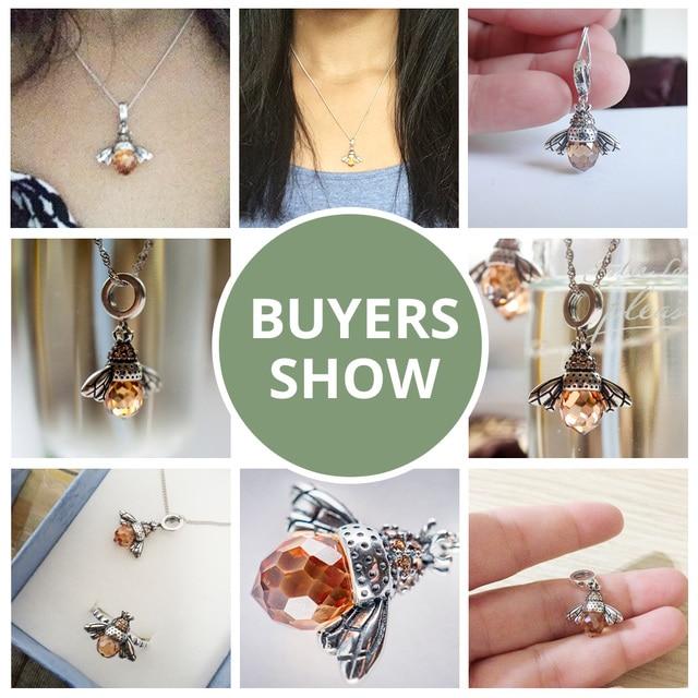 BAMOER 925 Sterling Silver Lovely Orange Bee Animal Pendants Necklace for Women Fine Jewelry CC035 2