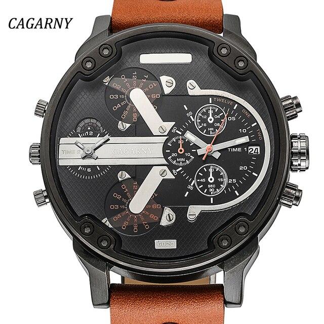 db6d37a8ed9 Luxo dos homens Relógios Dos Homens Relógio de Quartzo Dupla Tempo de  Exibição Assista CAGARNY Homem