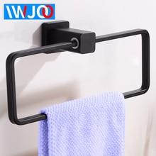 Towel Ring Holder Black Wall Mounted Bathroom Towel Rack Square Aluminum Towel Bar Decorative Toilet Robe Rack Bath Accessories цена и фото
