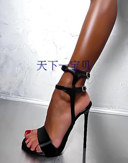 Fashion Black Leather Cut-out Ankle Buckle Sandals Summer Women Thin Heel Dress shoes woman стоимость