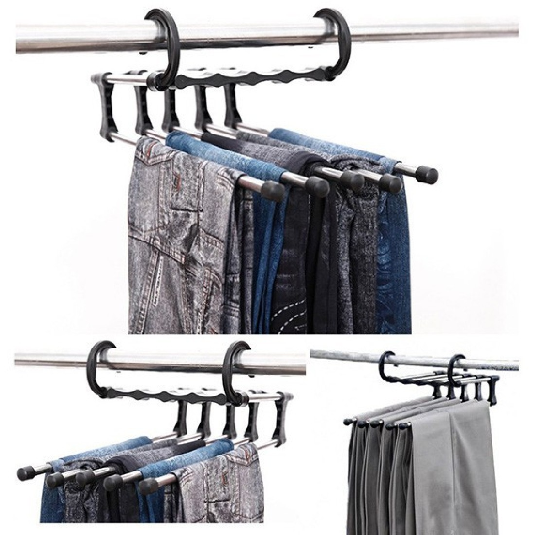 1 Pcs Magique Pantalon Pantalon Cintre Multifonction Rétractable Placard 5 dans 1 Pratique et Pratique