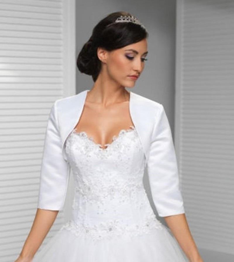 Online get cheap white satin bolero for White bolero for wedding dress