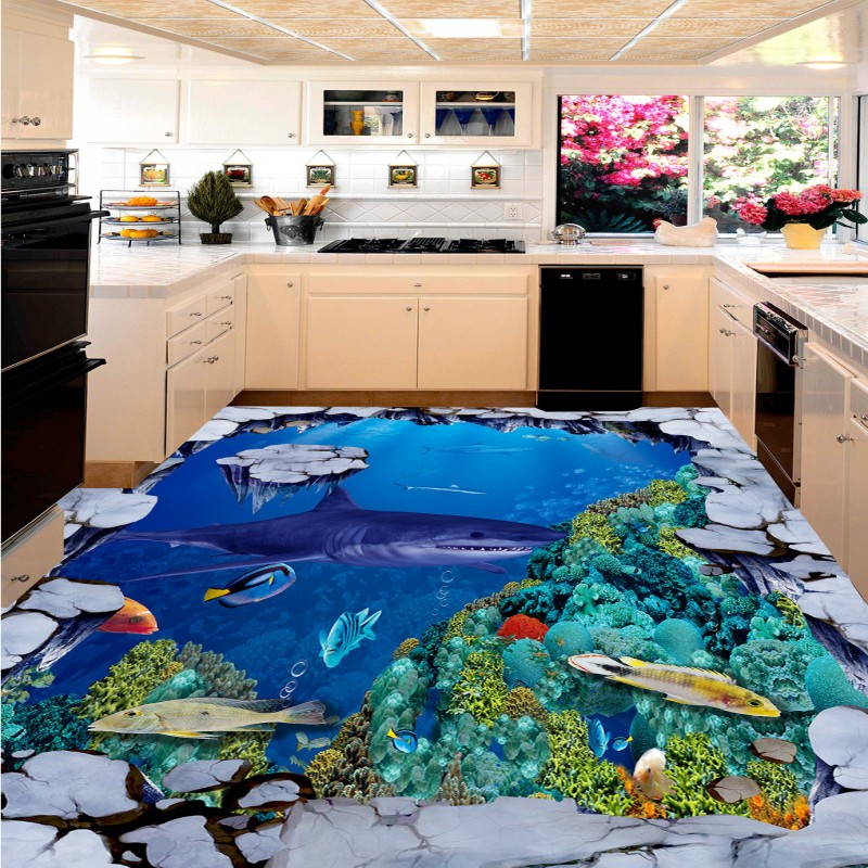 Free shipping self adhesive sticker wallpaper kitchen hotel decoration marine dolphin wallpaper mural