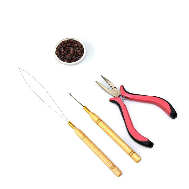 Ik tip Haarverlengingstools, waaronder Silicone Micro Rings Beads en Hook Needle and Loop Threader en haarverlengingstang