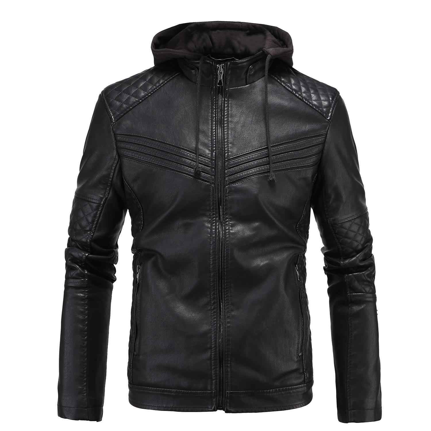 4933c148f9bee Leather Jacket Men Hoodie Fashion PU Leather Coat Male Motorcycle Jackets  Jaqueta Couro Brand Thickens Maintains