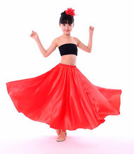 Baby Girls Dance Costumes Spanish Flamenco Skirt Satin Solid Red Stage Wear Performance Dress Plus Size Swing Ballroom Skirt(China)