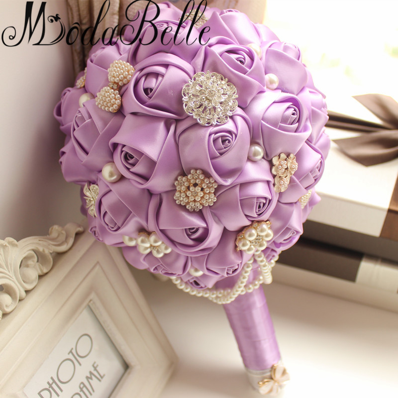 Modabelle Satin Roses Wedding Flowers Purple Round Bouquets Bridesmaid Artificial Bridal Ball Ramo De