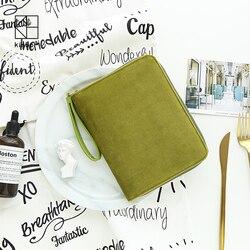 Kinbor Matcha Colore A6 Multifunzione Hobonichi Velluto Stile Notebook Moda Cerniera Portafoglio Diario Planner Libro Appunti di Viaggio