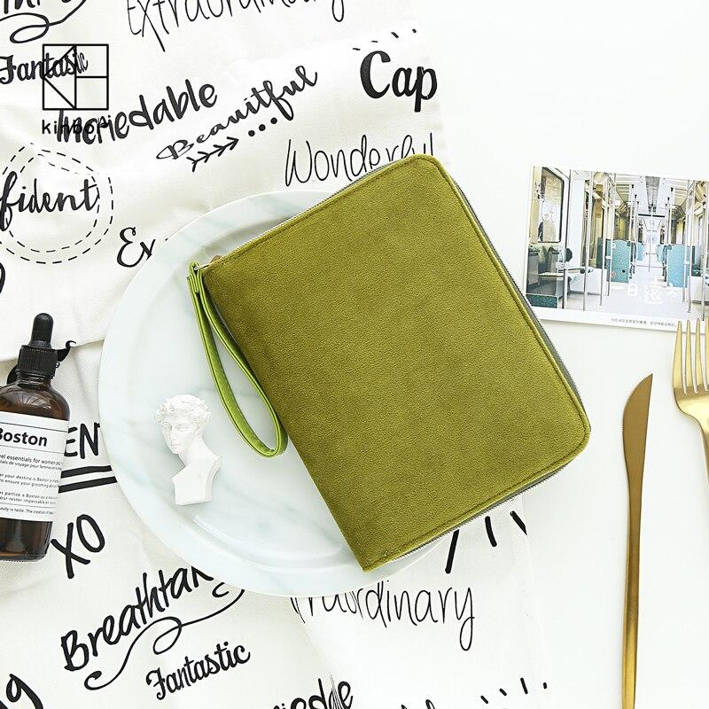 Kinbor Matcha couleur A6 multifonction Hobonichi Style velours cahier mode fermeture éclair portefeuille planificateur journal livre voyage bloc-notes