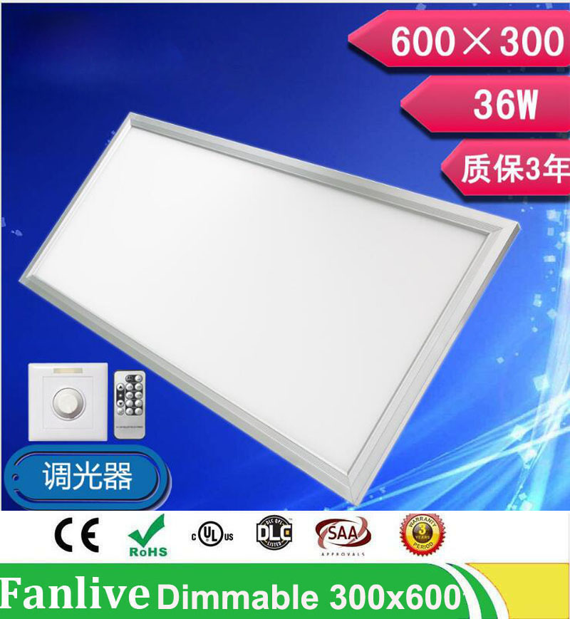 4pcs/lot 36W 300*600 48w 300*1200/72W 600 *1200 Brightness Dimmable <font><b>Led</b></font> <font><b>Panel</b></font> Light 110v 220v SMD2835 With Dimmer And Controller image