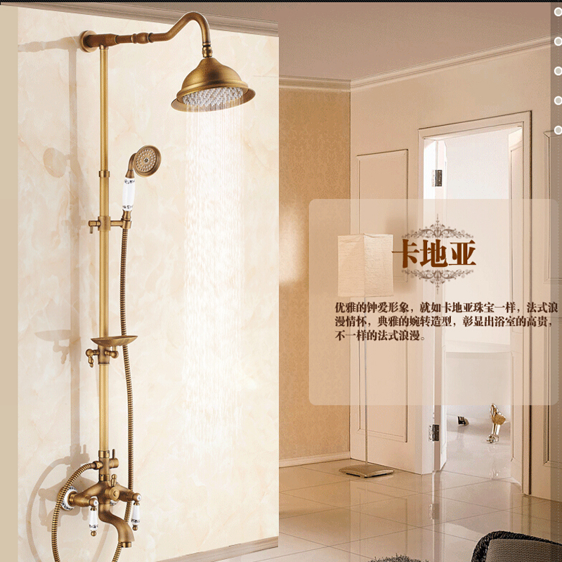 Wholesale And Retail Luxury Antique Brass Bathroom Rain Shower Head Valve Mixer Tap Dual Handle W/ Hand Shower